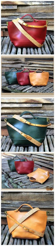 Handmade Red Leather Messenger Bag Handbag Shoulder Bag Satchel 14100