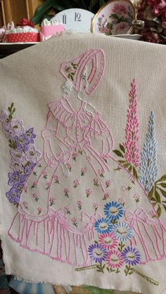 Vintage Embroidered Pink Crinoline Lady & by NostalgiqueBoutique Brush Embroidery, Embroidery Transfers, Hand Embroidery Designs, Vintage Embroidery, Embroidery Applique, Cross Stitch Embroidery, Embroidery Patterns, Embroidery Hoop Nursery, Quilted Gifts