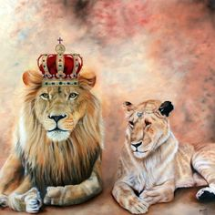 """Shop """"Match Made in Heaven"""" magnet created by brushedbythespirit. Personalize it with photos & text or purchase as is! Lion And Lioness, Lion Of Judah, Lion Wallpaper, Cartoon Wallpaper, Lion Love, Lion Painting, Prophetic Art, Owning A Cat, Lion Art"""