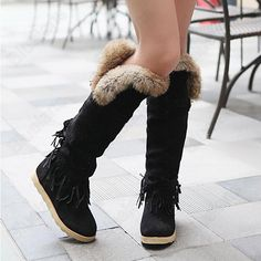 Discount China china wholesale Womens Casual Tassel High Knee Shaft Snow Boots Flats Belted Buckle Faux Fur Boots [50024] - US$25.49 : DealsChic