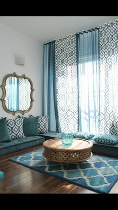Elegant loloi in Living Room Mediterranean with Prayer Room next to Blue Living Room alongside Floor Seating and Arabic Interior Design Living Room Designs, Living Room Decor, Living Spaces, Bedroom Decor, Bedroom Curtains, Tall Curtains, Ceiling Curtains, Curtain Ideas For Living Room, Living Area