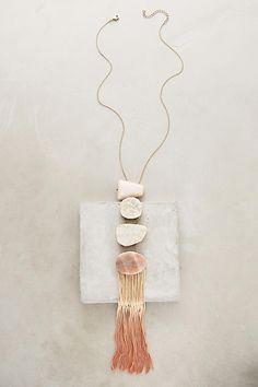 Anthropologie Iona Fringed Pendant Necklace