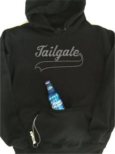 Tailgate Hoodie with built in insulated beverage/ beer cooler and built in bottle opener!  Great for tailgating!!!  Keep your beer cold!  Great novelty gift!  Perfect for concerts, picnics or  pre game tailgating for football, baseball, soccer, basketball, hockey etc.!  We got all the tailgaters covered!! : )  https://www.etsy.com/listing/462150210/tailgate-hoodie-with-rhinestones-and