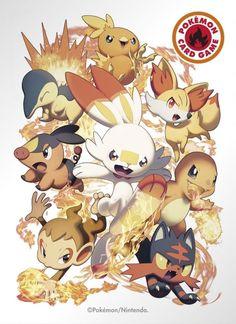 Beautiful Starter Artwork Revealed For Pokemon TCG Sleeves In Japan Cute Pokemon Pictures, Pokemon Images, Pokemon Poster, Pokemon Fan Art, Festa Pokemon Go, Manga Pokémon, Lucario Pokemon, Charmander, Charizard