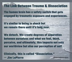 The link between trauma and dissociation - The human brain has a safety switch that gets engaged by traumatic exposure and experiences. It's similar to being in shock but we remain there until it's. Ptsd Awareness, Mental Health Awareness, Understanding Depression, Depersonalization, Trauma Therapy, Mental And Emotional Health, Post Traumatic, Psychology Facts, Toxic Relationships