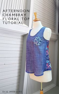 The Afternoon Chambray Floral Top sewing tutorial by Melissa of the Sewing Rabbit Team. Very clear instructions on drafting a pattern from an existing top. Sewing Hacks, Sewing Tutorials, Sewing Crafts, Sewing Projects, Sewing Tips, Sewing Patterns Free, Free Sewing, Clothing Patterns, Diy Clothing