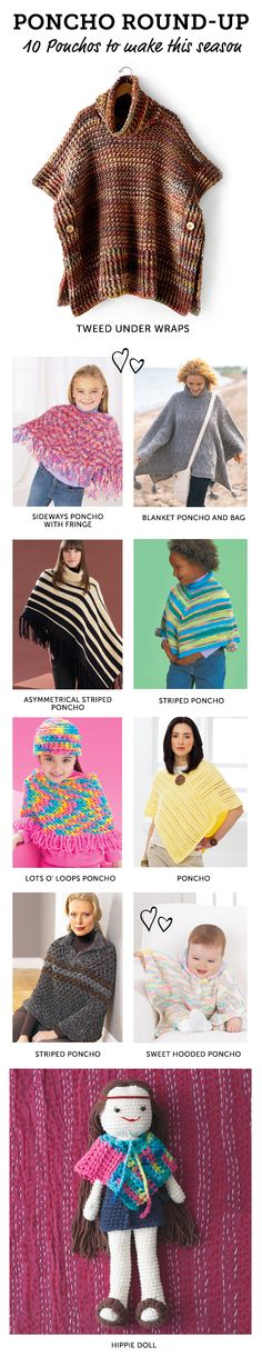 Perfect knit and crochet ponchos for fall and winter from Yarnspirations | Free patterns