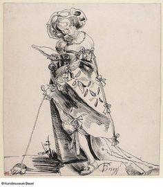Urs Graf Dirne fuhrt eine Maus spaziern 1529