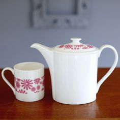 Retro Pink Daisies Fine China Tea Pot & Cup - lovely new china from Catherine Colebrook