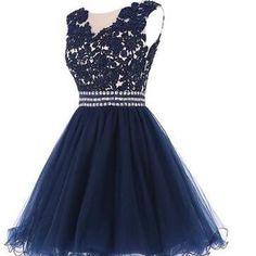 Lovely Navy Blue Short Lace Appliqu..