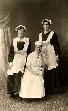 +~+~ Antique Photograph ~+~+  Portrait of maid staff for a large home.