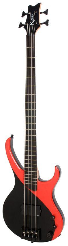 Kramer KDB1BRBH1 D-1 Electric Bass Guitar (Black/Red) - Kramer - Bass Gallin's Musician's Pro Shop