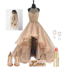 champagne tulle long prom dress for teens, tulle evening dress