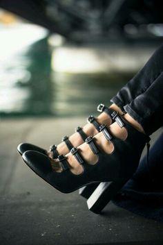 Multi strap black heel