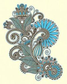 Illustration of original hand draw line art ornate flower design. Ukrainian traditional style vector art, clipart and stock vectors. Mehndi, Paisley Art, Paisley Design, Paisley Flower, Doodle Designs, Designs To Draw, Tangle Art, Flower Doodles, Flash Art