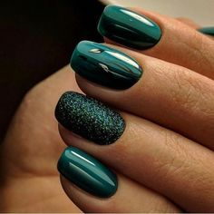 140 gorgeous emerald green nail art designs page 23 Nageldesign Green Nail Designs, Square Nail Designs, Winter Nail Designs, Winter Nail Art, Winter Nails, Nail Art Designs, Spring Nails, Popular Nail Designs, Summer Nails