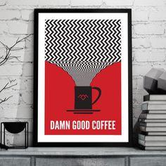 Twin Peaks Poster, Damn Good Coffee, Chevron pattern.