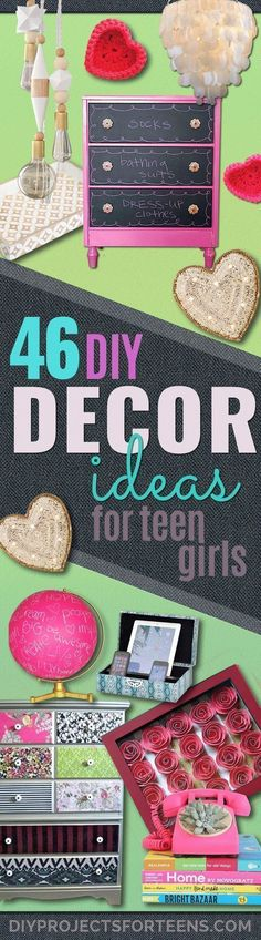 DIY Teen Room Decor Ideas for Girls | Fun Crafts and Decor For Tweens | Cool Bedroom Decor, Wall Art & Signs, Crafts, Bedding, Fun Do It Yourself Projects and Room Ideas for Small Spaces http://diyprojectsforteens.com/diy-teen-bedroom-ideas-girls #teengirlbedroomideasdiy #teengirlbedroomideassmall #funcrafts #teengirlbedrooms