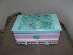 decoupage box blue and pink
