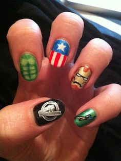 Avengers nail art. BEST THING EVER!! I would put Thor on a more visible finger though..