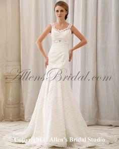 Satin and Lace Straps Chapel Train Mermaid Wedding Dress with Beading on sale at affordable prices, buy Satin and Lace Straps Chapel Train Mermaid Wedding Dress with Beading at AllensBridal.com now!