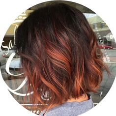 balayage hair, underlights hair at hair Hair Color And Cut, Ombre Hair Color, Red Brown Ombre Hair, Short Hair Colour, Ombre Ginger Hair, Short Red Hair, Short Ombre, Long Hair, Cheveux Oranges