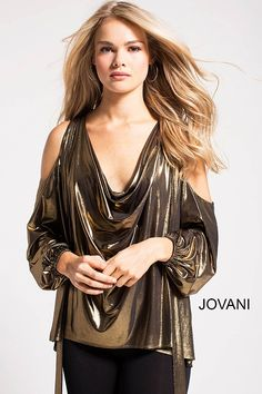 dd0f26f5828 Flare gold metallic fabric modern blouse with plunging neckline and close  back features long sleeves with