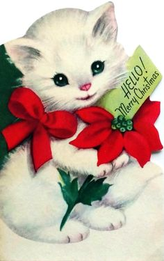 The Floating Pet Fur Catcher - Sale! Christmas Kitten, Christmas Animals, Christmas Past, Retro Christmas, Vintage Christmas Cards, Vintage Holiday, Christmas Greeting Cards, Christmas Pictures, Christmas Greetings
