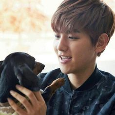 Could this picture BE more perfect 1: there s a hot korean kpop beagle line member who looks liks gods gift to mankind. 2: He's holding an adorable puppy!