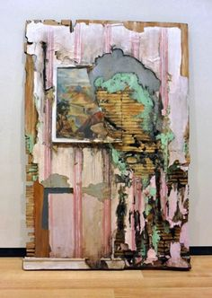 Cracked Canyon with Wall - Valerie Hegarty Art Projects, Painting, A Level Art, Art, Decay Art, Collage Art, Abstract, Contemporary Art, Architecture Art