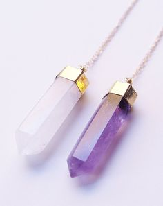 35% OFF SALE: Amethyst Point Gold Necklace by friedasophie on Etsy