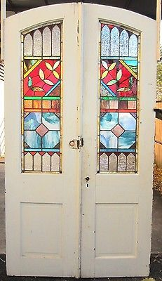~ GREAT SET ANTIQUE STAINED GLASS DOUBLE ENTRANCE FRENCH DOORS ~ SALVAGE ~