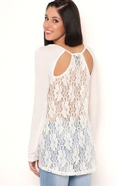 Deb Shops Long Sleeve High Low Top with Lace Cut Out Back $24.00