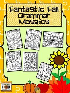 Practice skills of determining the part of speech using Grammar Mosaics! Fun grammar activities.