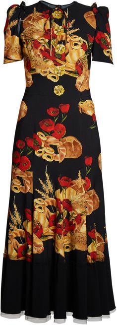 DOLCE & GABBANA Bread-print cady midi dress