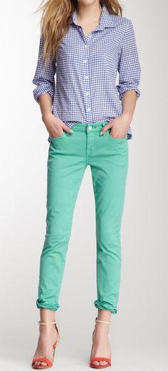 Gingham + bright jeans.  I really appreciate the color combination...it's unique.