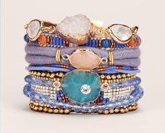 Manchette parme/bleu corde pierres Cobalt Hipanema prix promo Bijoux Monshowroom…