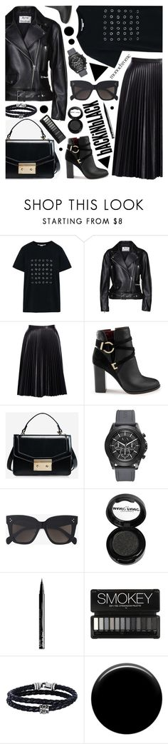 """Back in black - edgy street style"" by cly88 ❤ liked on Polyvore featuring STELLA McCARTNEY, Acne Studios, Cusp by Neiman Marcus, Miss Selfridge, Armani Exchange, CÉLINE, Manic Panic NYC, NYX, Phillip Gavriel and Lauren B. Beauty"
