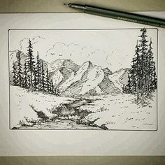 trendy landscape sketch pencil trees pen and ink Landscape Pencil Drawings, Landscape Sketch, Pencil Art Drawings, Landscape Art, Art Sketches, Mountain Sketch, Mountain Drawing, Nature Sketch, Nature Drawing