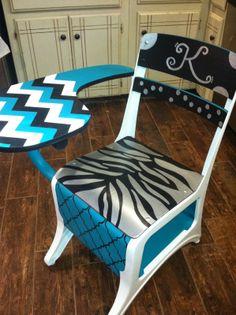Rustic Rehab: Painted old school desk, turquoise, black, white & silver, chevron, zebra print,