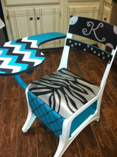 Rustic Rehab: Painted old school desk, turquoise, black, white & silver, chevron, zebra print,