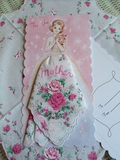 "Lovely ""mother"" Hanky Card with Roses Hankie measures square ~ Cotton Batiste Comes with white mailing envelope and cello sleeved. Handkerchief Crafts, Sewing Crafts, Sewing Projects, Mother Card, Arts And Crafts, Paper Crafts, Vintage Handkerchiefs, Dress Card, Mothers Day Crafts"