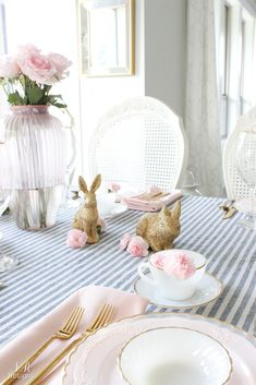 Blush pink and blue Easter tablescape and kitchen styled for Easter. Lots of spring and Easter inspiration! Easter Table, Easter Party, A Moveable Feast, White Cherries, Easter Celebration, Vintage Easter, Blue Christmas, Blush, Tablescapes