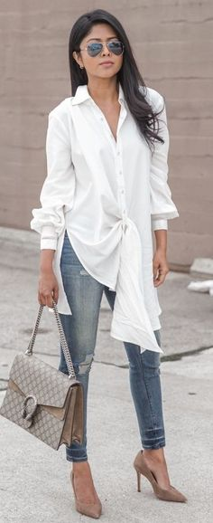 #business #casualoutfits #spring | White Extra Long Shirt + Denim | Walk In Wonderland