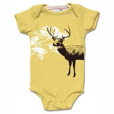 Organic mustard yellow DEER baby bodysuit short by alittlelark