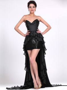 TopWedding Prom. Two in One Sweetheart Sequined Prom Dress with Ruffled Chiffon Train $157.79