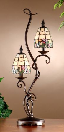Dale Tiffany Clairmont Tiffany Table Lamp with Antique Golden Sand Finish