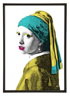 'Girl with Pearl Earring' Pop Art Print - Art & Hue - Lime Lace The halftone print is finished with colour blocking to create a fresh new look. #buy #art #sale #uk