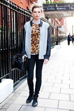Leopard and varsity jacket.