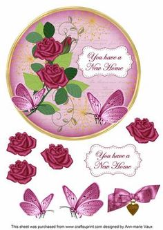 Cerise Rose New Home 7in Circle Decoupage Topper on Craftsuprint - Add To Basket!